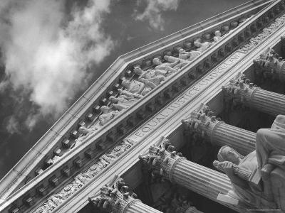 Sculptured Frieze of the US Supreme Court Building Emblazoned with Equal Justice under Law-Margaret Bourke-White-Photographic Print