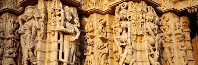 Sculptures Carved on a Wall of a Temple, Jain Temple, Ranakpur, Rajasthan, India--Photographic Print