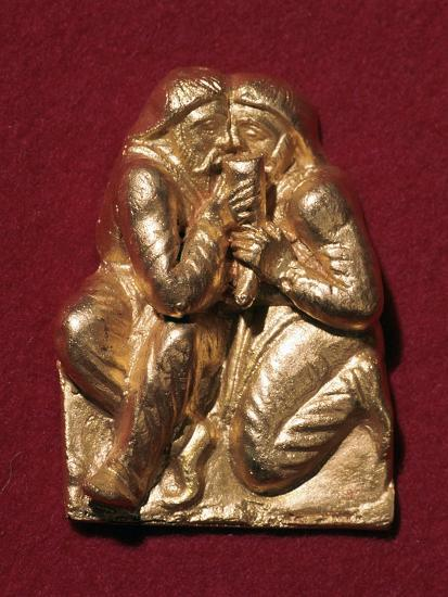 Scythian plaque showing two men drinking from a horn, 4th century BC Artist: Unknown-Unknown-Giclee Print