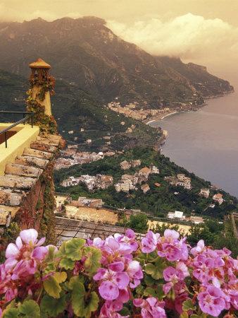 Sea and Flowers from Hotel Polumbo in Ravello, Italy-Richard Nowitz-Photographic Print