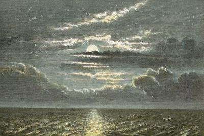 Sea at Night with Full Moon-English School-Giclee Print