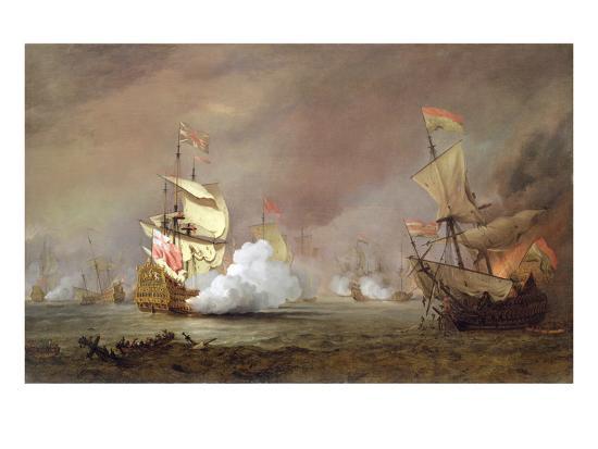 Sea Battle of the Anglo-Dutch Wars, c.1700-Willem Van De, The Younger Velde-Premium Giclee Print