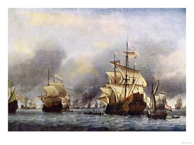 Sea Fight Between England and Holland during the Dutch War, June 1666--Premium Giclee Print