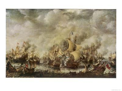 Sea Fight Between the English and the Dutch off the Coast of Ter Heyde--Giclee Print