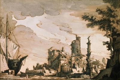 Sea Harbor, Stage Design for a Theatre Play, 1818-Pietro Gonzaga-Giclee Print
