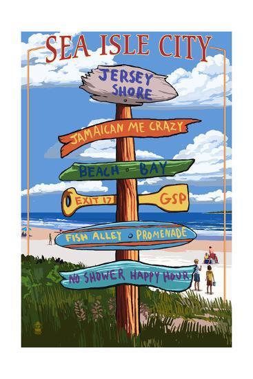 Sea Isle City, New Jersey - Destination Sign-Lantern Press-Art Print