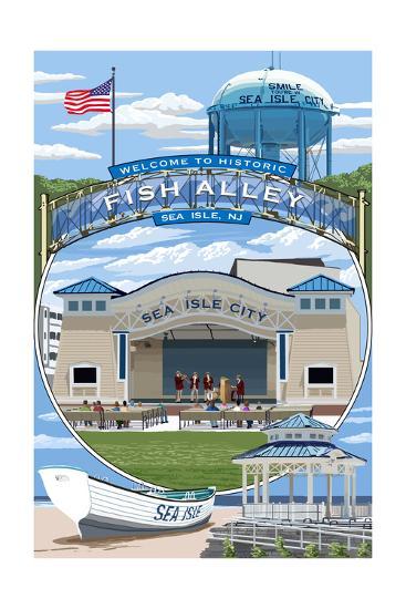 Sea Isle City, New Jersey - Montage-Lantern Press-Art Print