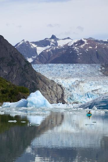 Sea Kayaker Near S.Sawyer Glacier Tracy Arm Se Ak Summer Fords-Terror Wilderness Area-Design Pics Inc-Photographic Print