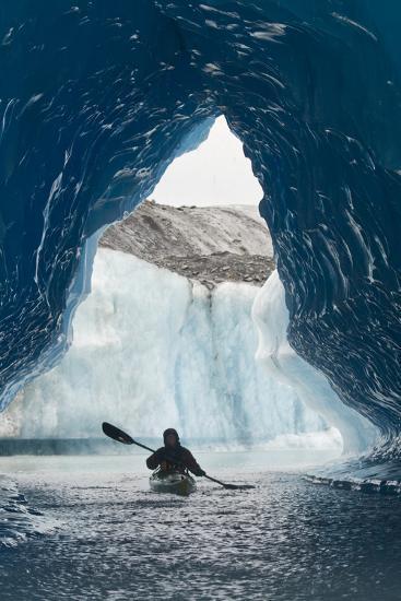 Sea Kayaker Paddles Through an Ice Cave Amongst Giant Icebergs Near Bear Glacier-Design Pics Inc-Photographic Print