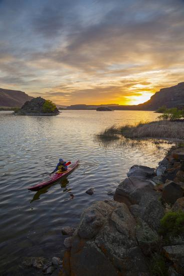 Sea Kayaker Paddling at Sunrise, Alkili Lake, Washington, USA-Gary Luhm-Photographic Print