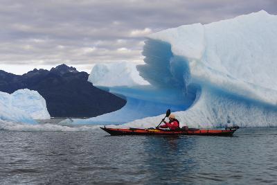Sea Kayaking Among Icebergs, Laguna San Rafael NP, Aysen, Chile-Fredrik Norrsell-Photographic Print