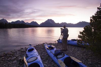 Sea Kayaking Jackson Lake In Grand Teton National Park, WY-Justin Bailie-Photographic Print
