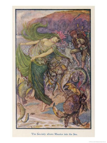 Sea-Lady Surrounded by Sea Creatures and a Young Man Playing Bagpipes-Henry Justice Ford-Giclee Print
