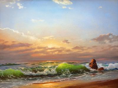 Sea Landscape On A Sunset-balaikin2009-Art Print
