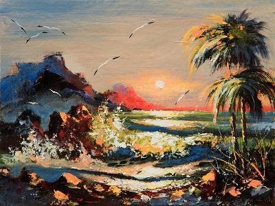 Sea Landscape With Palm Trees And Seagulls-balaikin2009-Art Print