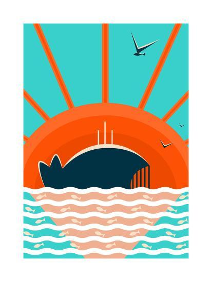 Sea Landscape with Whale Background. Graphic and Bright. Layered Vector Eps8 Illustration.-Popmarleo-Art Print