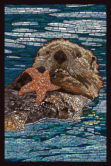 Sea Otter - Paper Mosaic-Lantern Press-Art Print
