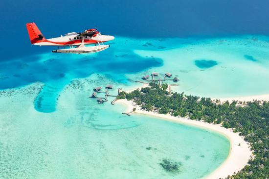 Sea Plane Flying above Maldives Islands-Jag_cz-Photographic Print