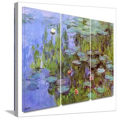 Sea Roses 3 piece gallery-wrapped canvas-Claude Monet-Gallery Wrapped Canvas Set