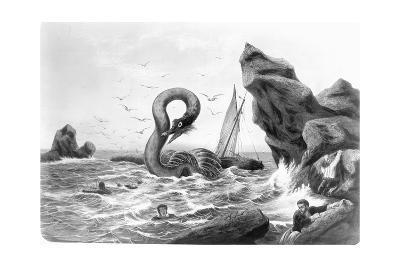 Sea Serpent Attacking Ship--Giclee Print