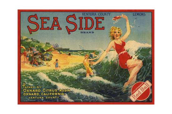 Sea Side Brand - Oxnard, California - Citrus Crate Label-Lantern Press-Art Print