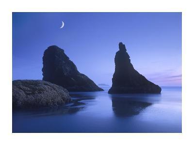 Sea stacks at dusk along Bandon Beach with rising moon, Oregon-Tim Fitzharris-Art Print