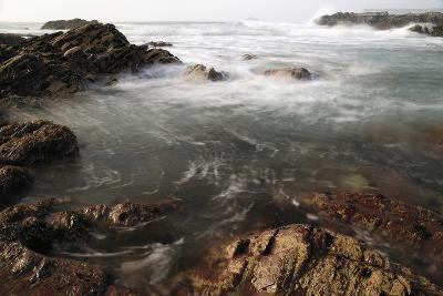 Sea Swirling around Rocks, Near Polzeath, Cornwall, England, United Kingdom, Europe-Nick Upton-Photographic Print