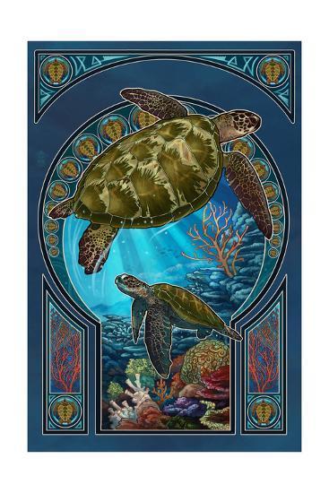 Sea Turtle - Art Nouveau-Lantern Press-Art Print