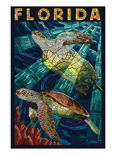 Sea Turtle Paper Mosaic - Florida-Lantern Press-Art Print
