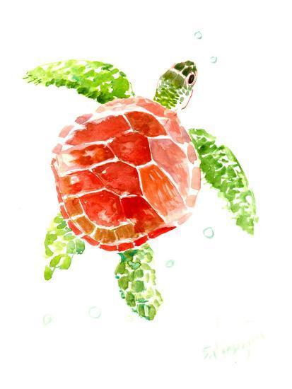 Sea Turtle Red-Green-Suren Nersisyan-Art Print