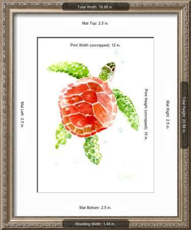Sea Turtle Red Green Art Print Suren Nersisyan Art Com
