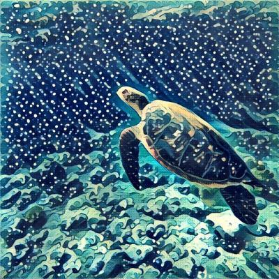 Sea Turtle Swimming Underwater. Digital Illustration in Watercolor Style. Exotic Wild Animal in Nat-Davdeka-Art Print