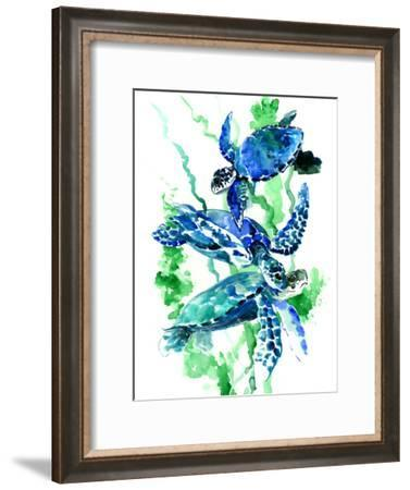 Sea Turtles Blue Green Underwater Scene-Suren Nersisyan-Framed Art Print