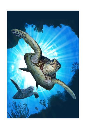 Sea Turtles Diving-Lantern Press-Art Print