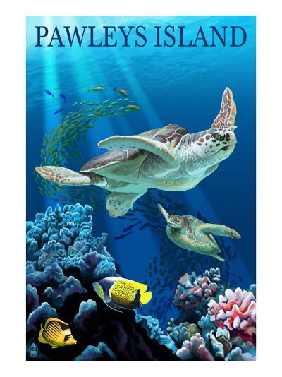Sea Turtles - Pawleys Island, South Carolina-Lantern Press-Art Print
