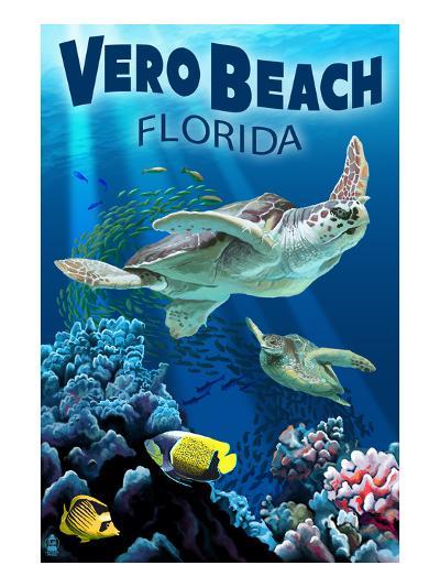 Sea Turtles - Vero Beach, Florida-Lantern Press-Art Print