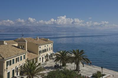 Sea View over a Sea Side Cafe from Corfu Town, Corfu Island, Ionian Islands, Greek Islands, Greece-James Emmerson-Photographic Print