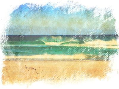 Sea Waves And Blue Sky In A Style Of A Old Painting On Grunge Canvas With Rough Edges- Lvnel-Art Print
