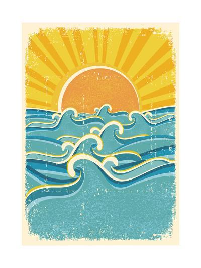 Sea Waves And Yellow Sun On Old Paper Texture.Vintage Illustration-GeraKTV-Art Print