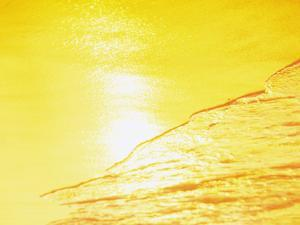 Sea Waves in Yellow with Sunlight