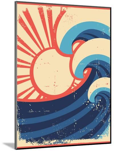 Sea Waves Poster.Grunge Illustration Of Sea Landscape-GeraKTV-Mounted Print