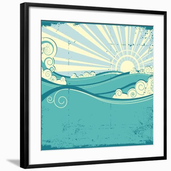 Sea Waves. Vintage Illustration Of Sea Landscape-GeraKTV-Framed Art Print