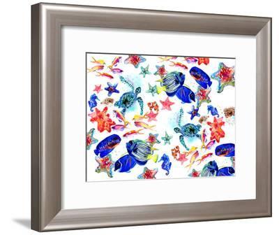 Sea World Pattern-Suren Nersisyan-Framed Art Print