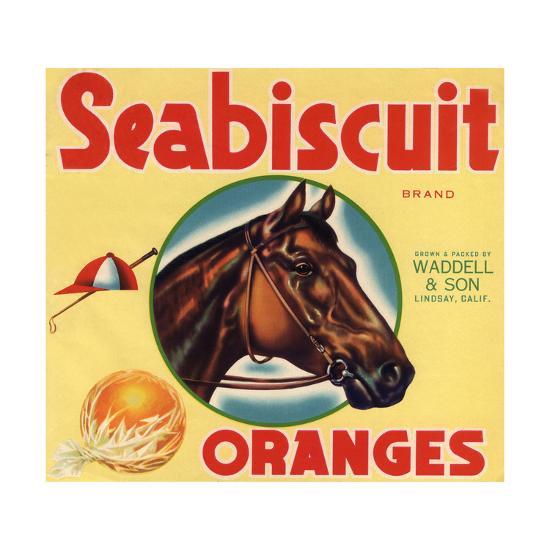 Seabiscuit Brand - Lindsay, California - Citrus Crate Label-Lantern Press-Art Print