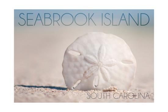 Seabrook Island, South Carolina - Sand Dollar and Beach-Lantern Press-Art Print