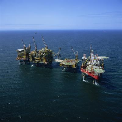 Seafox Drill Rig and Platform in the Sea at Morecambe Bay Gas Field, England, United Kingdom-Nick Wood-Photographic Print