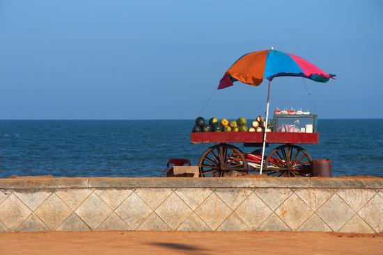 Seafront View of Vendor's Cart with Fruits- Polryaz-Photographic Print