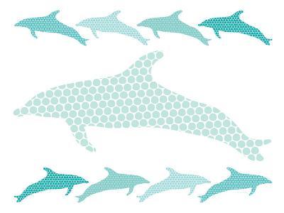 Seagreen Dolphin Family-Avalisa-Art Print