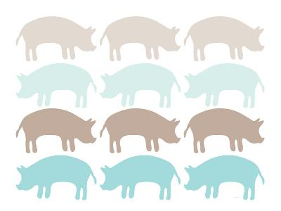 Seagreen Pig Family-Avalisa-Art Print