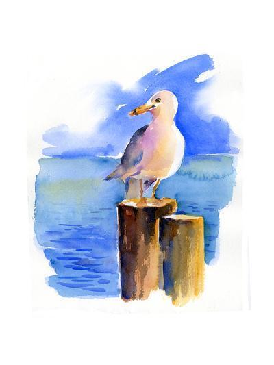 Seagull on Dock, 2014-John Keeling-Giclee Print